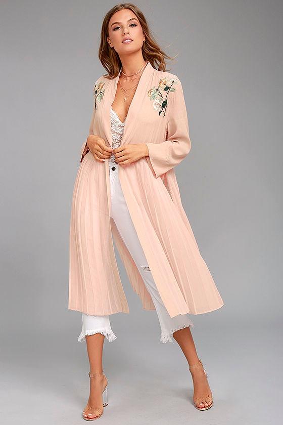 Introspective Peach Embroidered Kimono Top 1