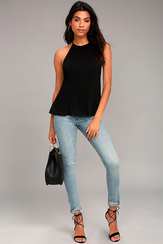 Love Forever Black Pleated Tank Top 2