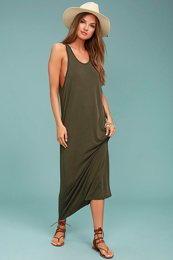 PPLA Pearl Olive Green Midi Dress 1