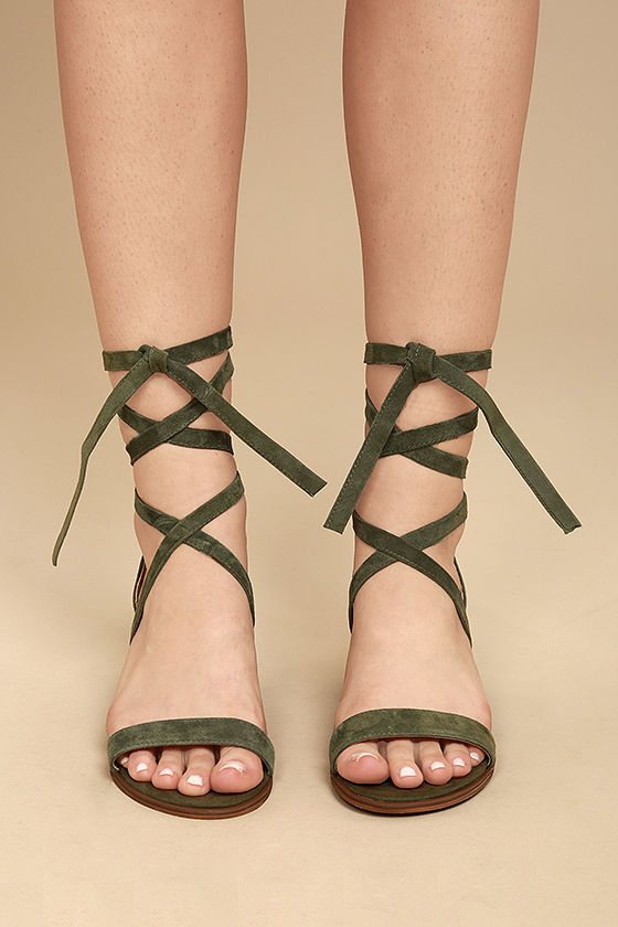 8758049ea04 Cute Suede Heels - Heeled Sandals - Olive Heels -  79.00