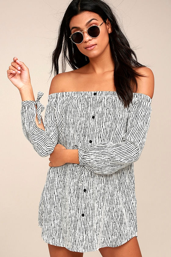 Into the Festival White Striped Off-the-Shoulder Dress 1