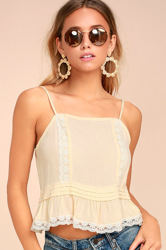 Divine By Day Cream Lace Crop Top