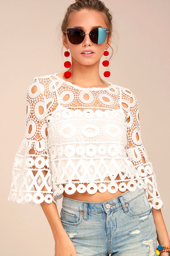 Pretty Little Thing White Crochet Crop Top.