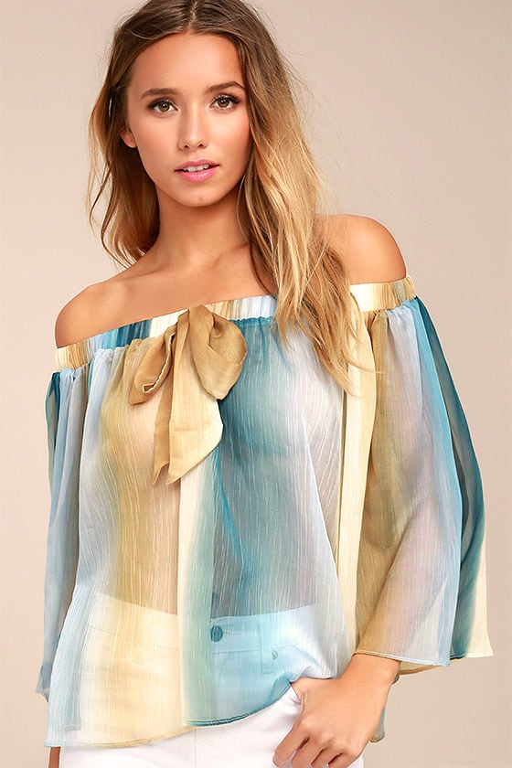 Night in Paradise Blue and Yellow Striped Off-the-Shoulder Top 1