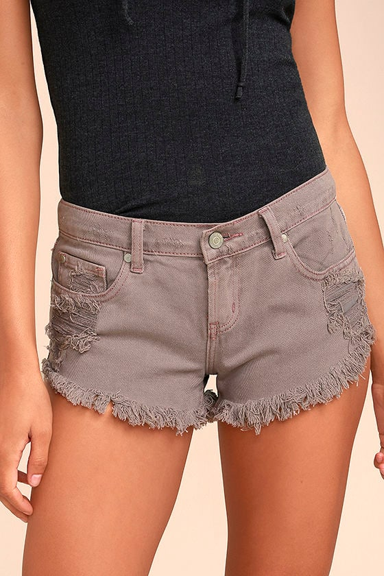 Collectively Cool Washed Mauve Distressed Cutoff Denim Shorts 1