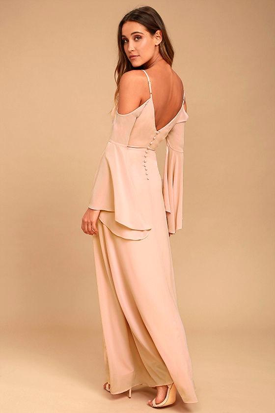 3181bca1a2 Stunning Blush Dress - Off-the-Shoulder Maxi Dress - Cold Shoulder Maxi  Dress - $96.00