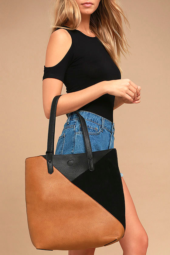 Downtown Cafe Tan and Black Tote 1
