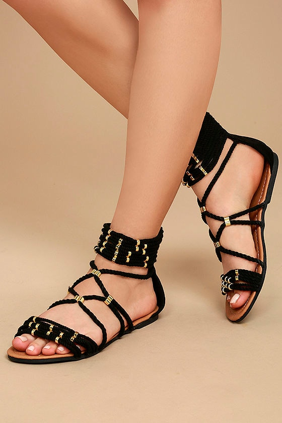 85d0c1c0191 Cute Black Sandals - Black Gladiator Sandals - Vegan .