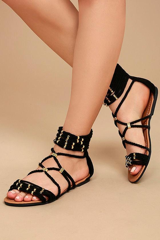 Pria Black Gladiator Sandals 1