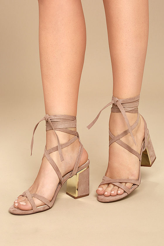 Ailsa Mauve Suede Lace-Up Heels 1