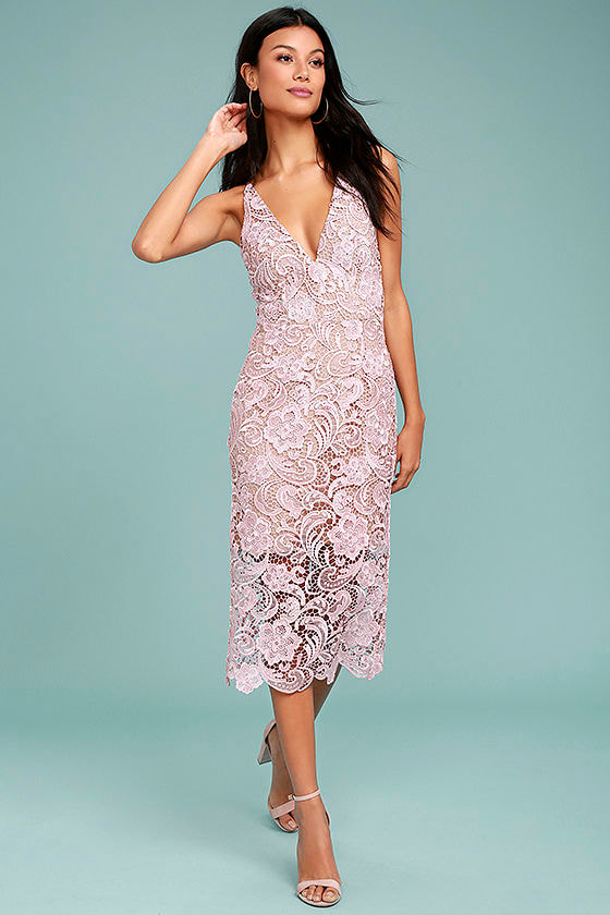 Dress the Population Marie Blush Pink Lace Midi Dress 1