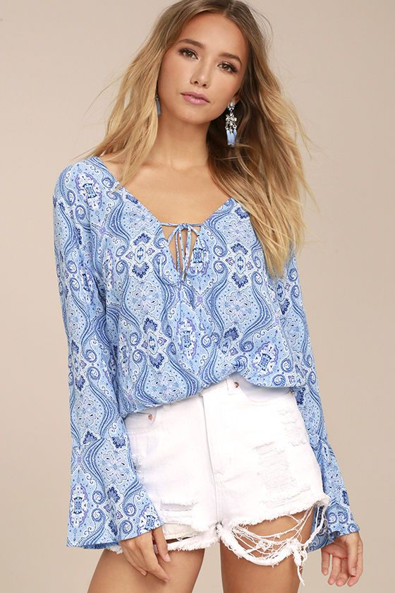 Lucy Love Amsterdam Light Blue Print Long Sleeve Top 1