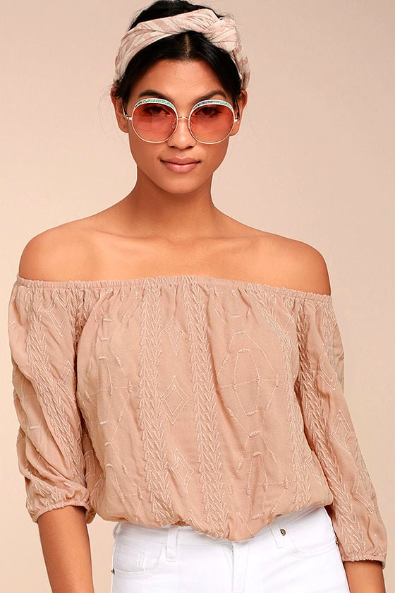 Jamboree Blush Embroidered Off-the-Shoulder Crop Top 1