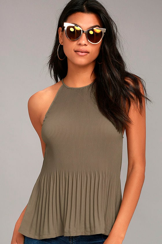 Love Forever Taupe Pleated Tank Top 1