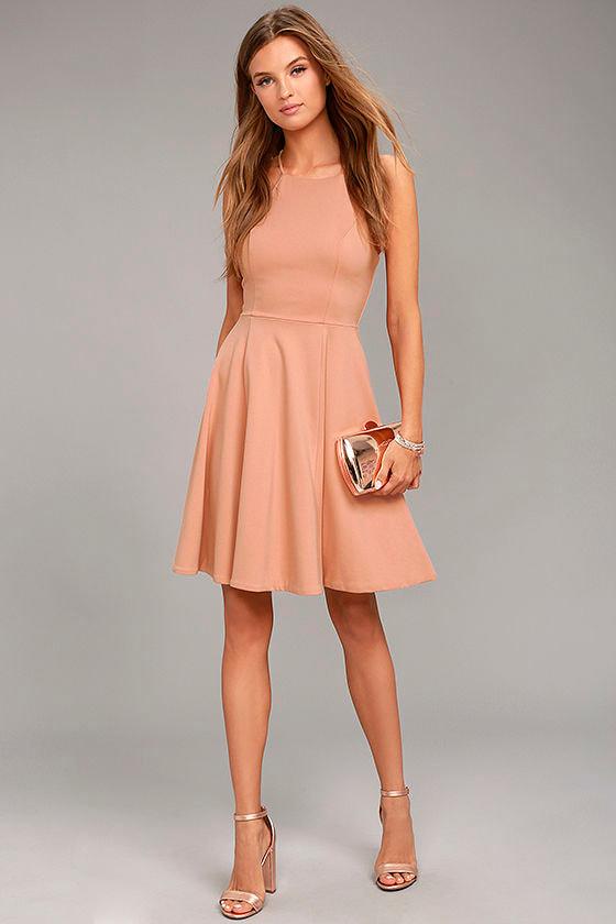a5f5e9950bad Lovely Blush Pink Dress - Midi Dress - Skater Dress - $59.00
