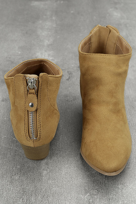 Misha Moss Tan Suede Ankle Booties 2