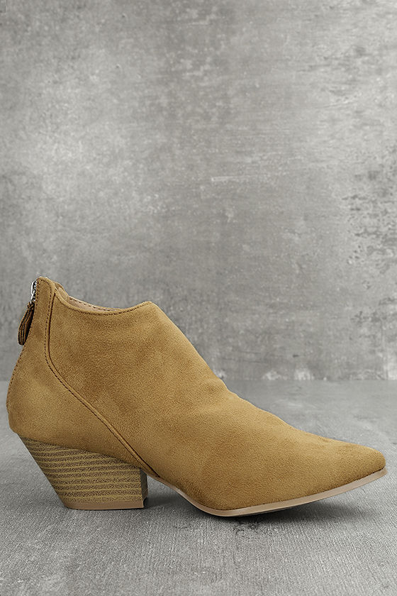 Misha Moss Tan Suede Ankle Booties 3