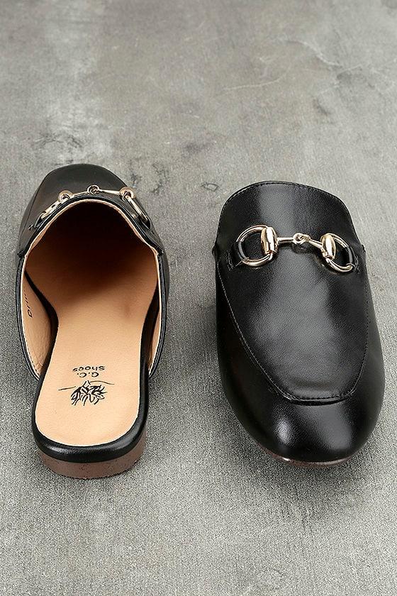 Chantae Black Loafer Slides 2