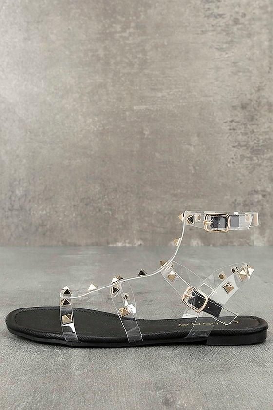 Josie Black Lucite Studded Gladiator Sandals 1