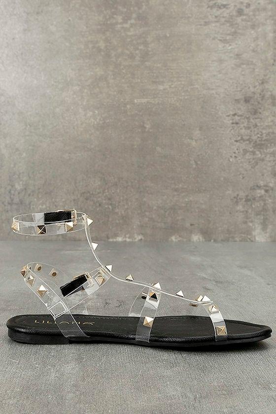 Josie Black Lucite Studded Gladiator Sandals 3