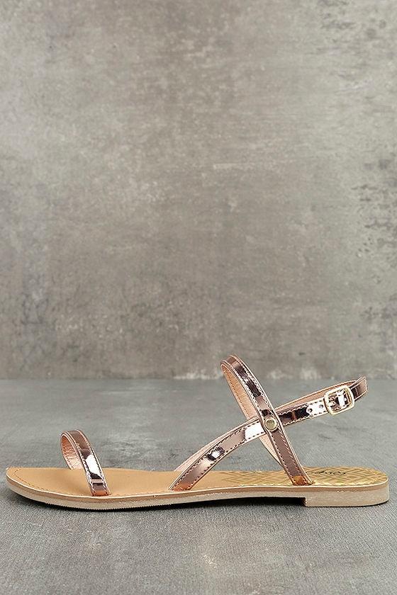 5b23eac7ea5b Cute Flat Sandals - Rose Gold Sandals - Vegan Sandals -  17.00
