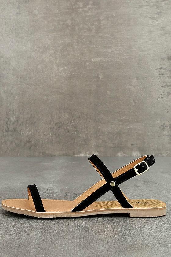 Rika Black Nubuck Flat Sandals 1