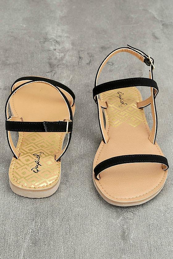 Rika Black Nubuck Flat Sandals 2