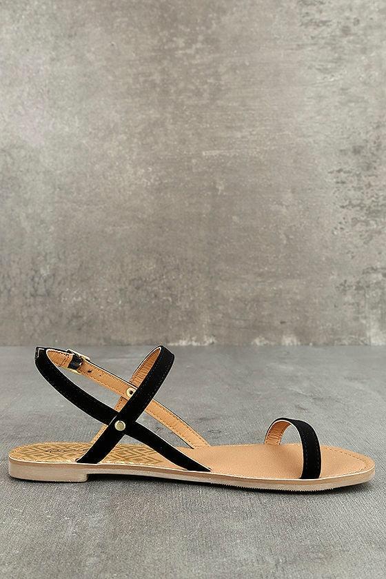 Rika Black Nubuck Flat Sandals 3