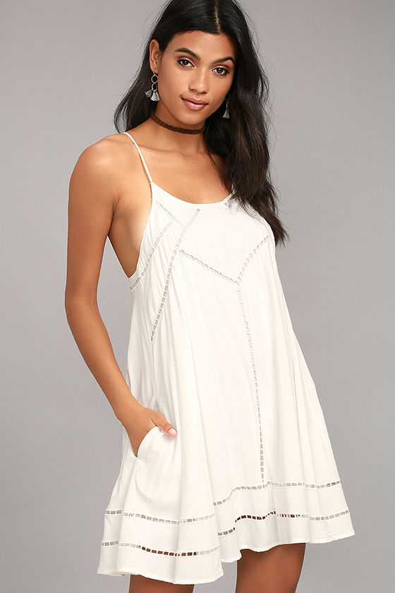 Sister Moon White Embroidered Swing Dress 1