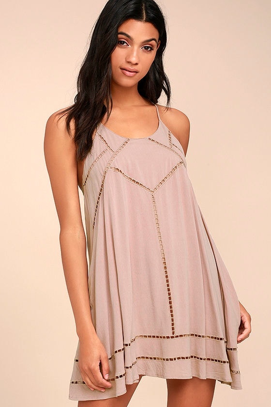 Sister Moon Mauve Embroidered Swing Dress 1