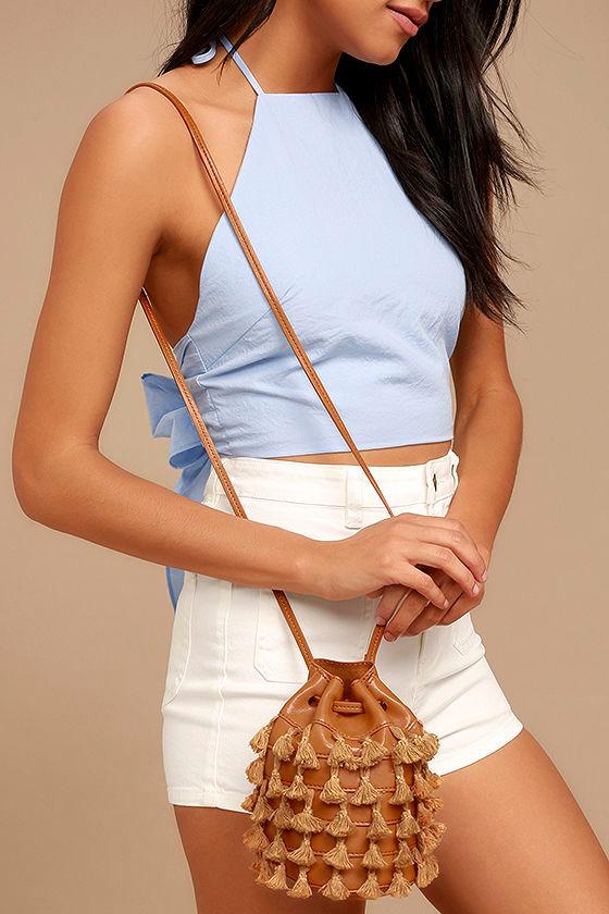 Holbox Tan Fringe Bucket Bag 1