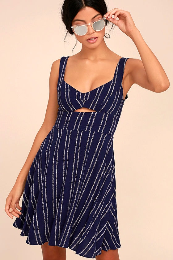 Cute Navy Blue and White Dress - Navy Blue and White Stripe Dress ...