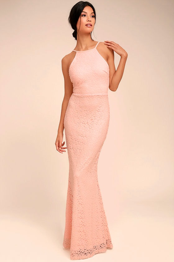 Peach colored dresses with lace
