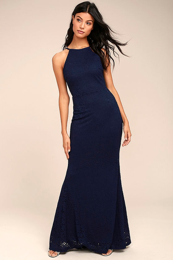 131a266a9587 Lovely Navy Blue Dress - Backless Lace Maxi Dress