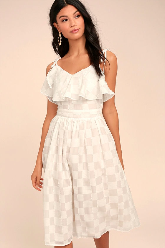 3159422b272 J.O.A. Tie Shoulder Dress - Midi Dress - White Dress - Checkered Dress -   87.00