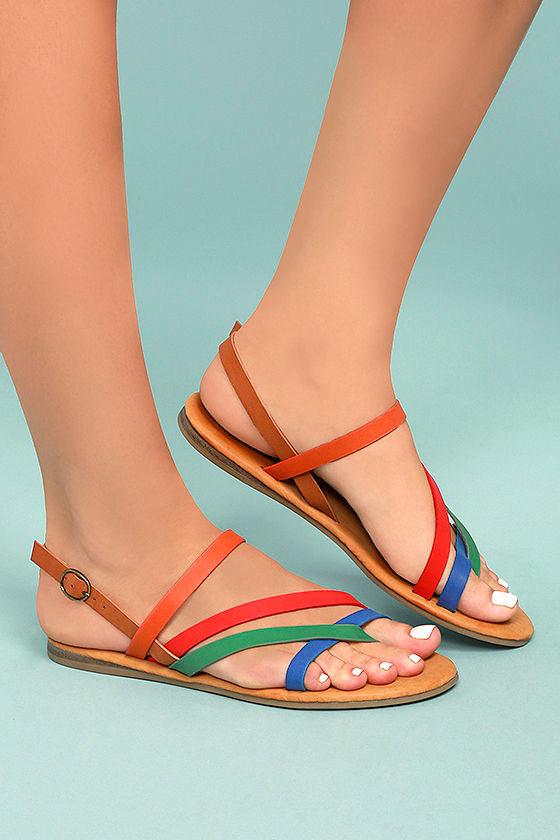 26c69c6b518f Chic Orange Multi Colored Sandals - Vegan Leather Sandals