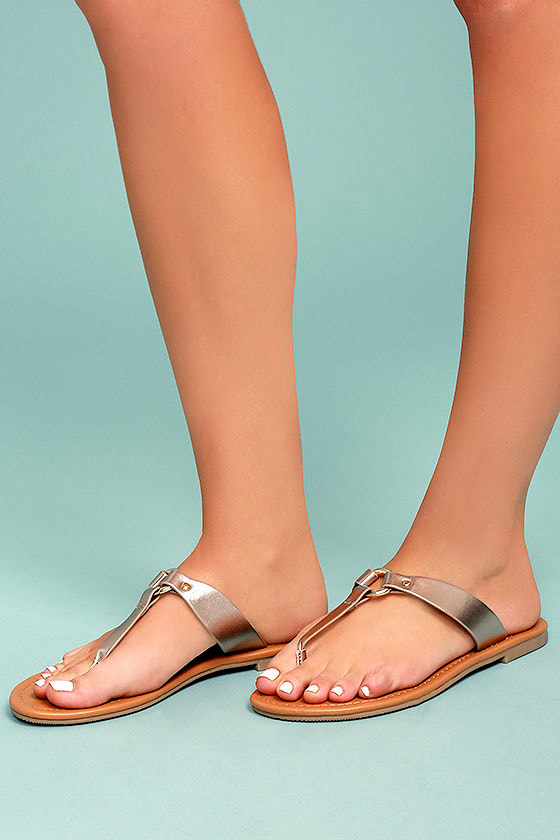 14c7a7b71 Chic Metallic Sandals - Bronze Thong Sandals - Vegan Leather Sandals -   19.00