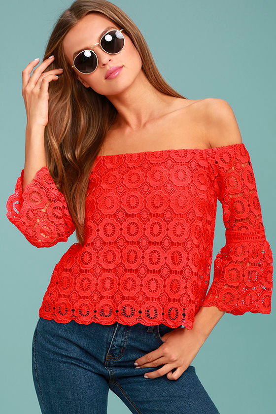 Good Day Red Crochet Off-the-Shoulder Top 1
