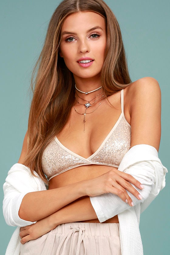 Angelic Affection Champagne Sequin Bralette 1
