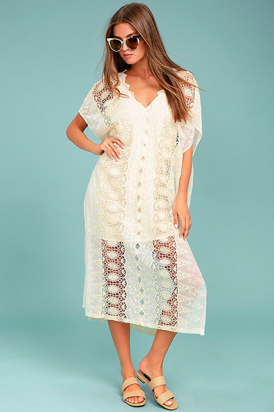 95f8df44d5 ASTR the Label Juliana - Cream Dress - Lace Dress - Kaftan Dress