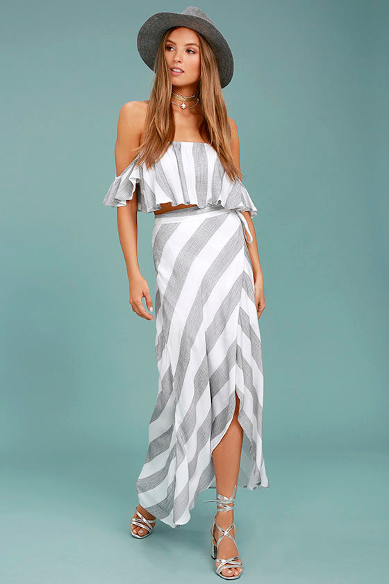 Golden Sunset Grey and White Striped Wrap Maxi Skirt 1