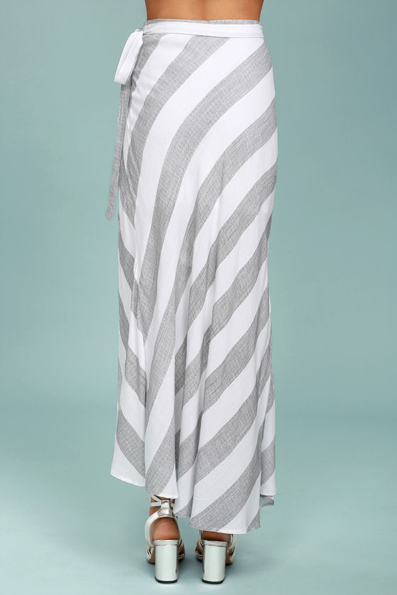 chic grey and white striped skirt wrap maxi skirt