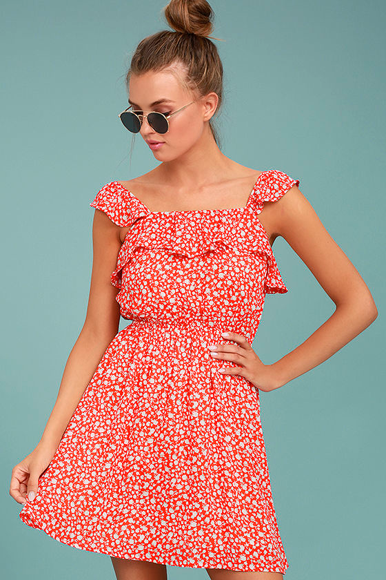 Moon River Dottie Red Floral Print Dress 1