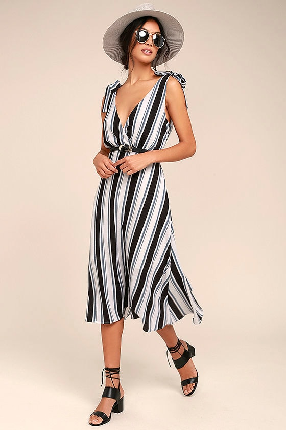 Ali & Jay Salsa Conmigo Ivory Striped Midi Dress 1