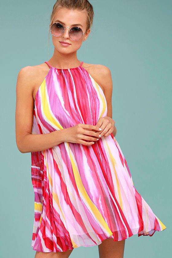 BB Dakota Summerlyn Fuchsia Print Swing Dress 1
