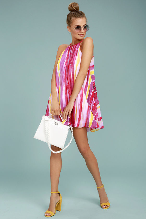 BB Dakota Summerlyn Fuchsia Print Swing Dress 2