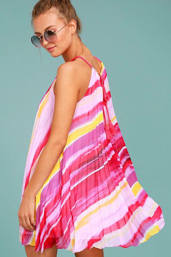 BB Dakota Summerlyn Fuchsia Print Swing Dress 3