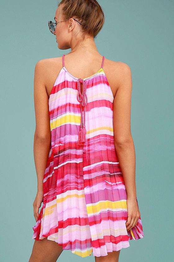 BB Dakota Summerlyn Fuchsia Print Swing Dress 4