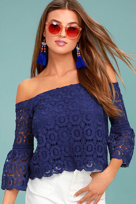 Good Day Royal Blue Crochet Off-the-Shoulder Top 1