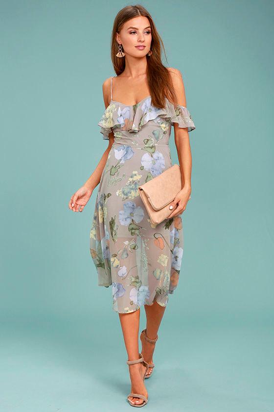 85e034cd8 Lost + Wander Penelope Dress - Grey Floral Print Dress - Midi Dress - $95.00